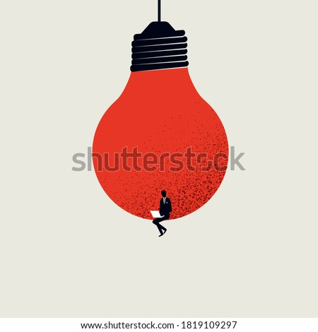 Content creation, creative person vector concept. Man sitting in lighbulb with laptop. Symbol of creativity, writing, blogging, copywriting. Eps10 illustration. Royalty-Free Stock Photo #1819109297