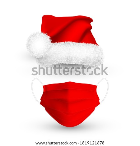 Red Santa Claus hat and medical face mask for Christmas holidays. Gradient mesh details 3d medical mask and Santa Claus hat. Vector illustration. #1819121678