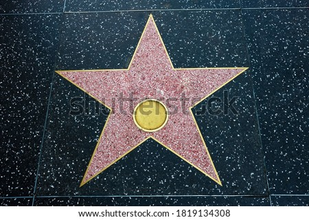 Walk of fame empty star on sidewalk, hollywood concept style. Symbol of achievement, honor, famous entertainment and celebrity tribute