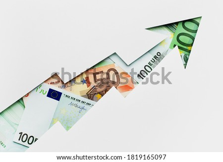 growth of euro rate growing up, concepts with graph money, euro bills, profit financial chart Royalty-Free Stock Photo #1819165097