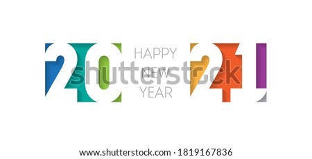 Happy new year 2021, horizontal banner. Brochure or calendar cover design template. Cover of business diary for 20 21 with wishes. The art of cutting paper. #1819167836