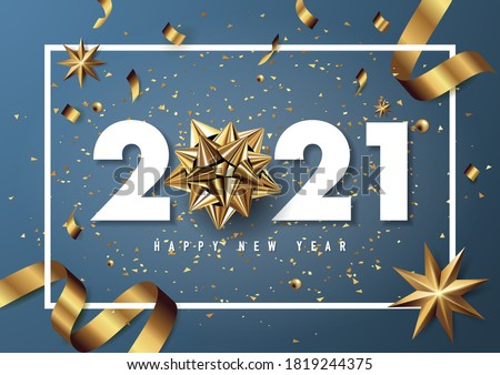 Merry christmas and happy new year 2021 vector greeting card and poster design with golden ribbon and star.Vector eps10. #1819244375