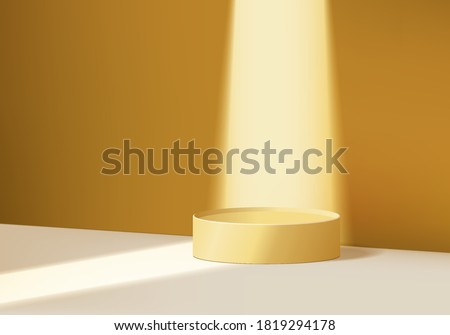 3d product abstract minimal scene spotlight with geometric platform. spotlight background vector 3d render with podium. scene to show cosmetic product spotlight. product showcase on 3d yellow scene  Royalty-Free Stock Photo #1819294178
