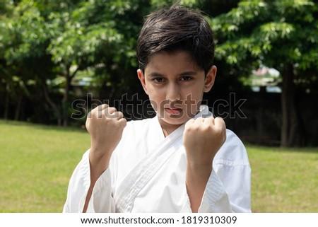 Child Karate Artist In Punching Pose With Aggression in Eyes Wearing White Karategi Kimono Royalty-Free Stock Photo #1819310309