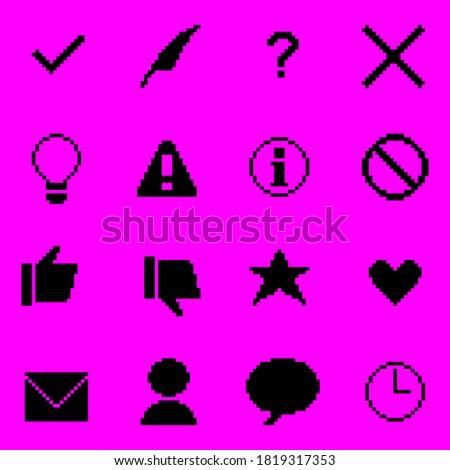 A set of black pixel art icons.