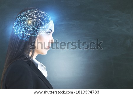 Businesswoman with glowing polygonal brain on blackboard background. Artificial intelligence and data concept. Multiexposure