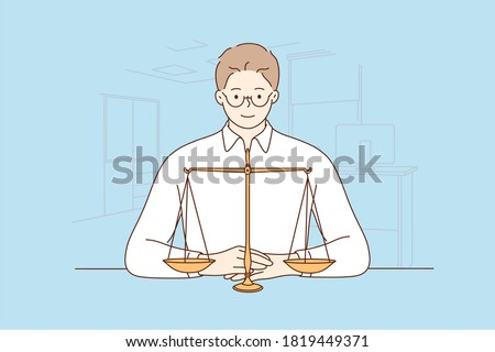 Law, justice, notary, work concept. Young happy smiling man guy clerk manager lawyer attorney judge sitting near scale demonstrating guilty weight. Court authority and judicial system illustration. Royalty-Free Stock Photo #1819449371