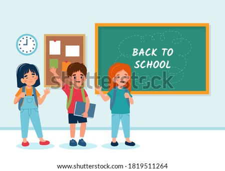 Children in class with a chalkboard, back to school concept, cute characters. illustration in flat style