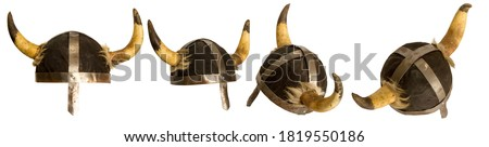 classic viking horned helmet in several positions isolated on white background Royalty-Free Stock Photo #1819550186