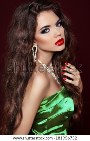 Beauty Glamour Fashion Girl Portrait. Beautiful brunette model woman with sexy lips, manicured nails.  #181956752
