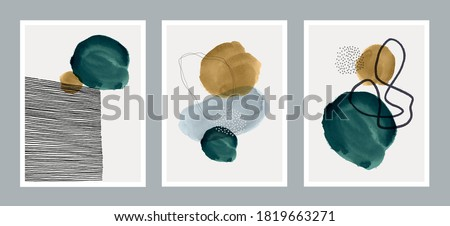 Set of creative minimalist hand painted illustrations for wall decoration, postcard or brochure cover design. Vector EPS10. #1819663271