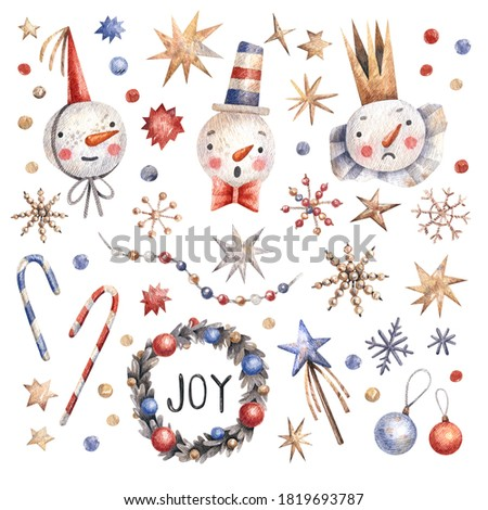 Watercolor hand painted Christmas set. Illustration isolated on white background. Snowmen, snowflakes, stars, garlands, candies - Christmas collection of illustrations in vintage style.