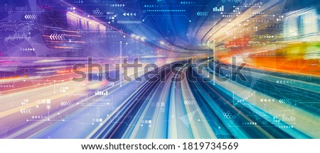Technology screen with abstract high speed technology POV motion blur