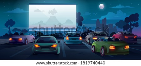 Car cinema or drive in movie theater and auto theatre with outdoor screen, vector cartoon background. Car cinema or drive movie in open air with people in cars on parking lot watching movie #1819740440