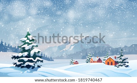 Winter snow landscape and houses on vector background with snowflakes falling from sky. Christmas winter scenery of cold weather and village houses in town or village forest, snowy hills and fields #1819740467