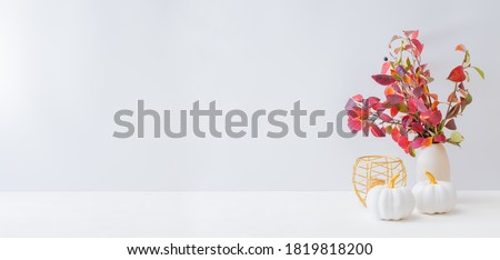 Home interior with decor elements. Colorful autumn leaves in a vase on a light background