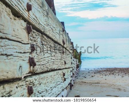 Littlehampton coast groin on a summers day Royalty-Free Stock Photo #1819850654