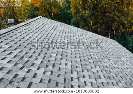 new renovated roof with shingles flat polymeric roof-tiles #1819880882