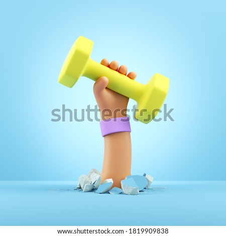 3d render cartoon hand holds yellow dumbbell, sport motivation clip art isolated on light blue background. Physical activity at home, indoor fitness exercise routine