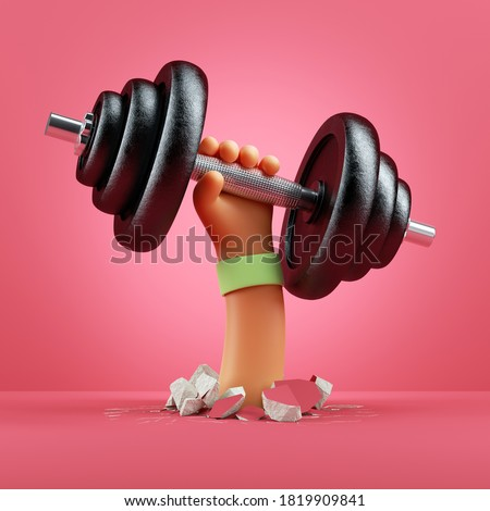 3d render cartoon hand holds heavy metal dumbbell, sport motivation clip art isolated on pink background. Physical activity power lifting at home, indoor fitness exercise routine