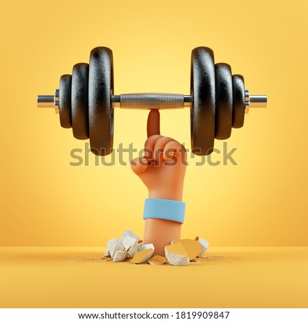 3d render cartoon hand holds black heavy dumbbell, sport motivation clip art isolated on yellow background. Physical activity at home, indoor fitness exercise routine
