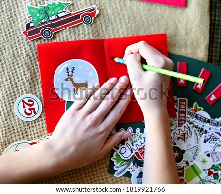Decorate Christmas Crafting Time - Snow Globe Reindeer, Christmas Tree Vintage Car, Hands Drawing with a Pencil #1819921766