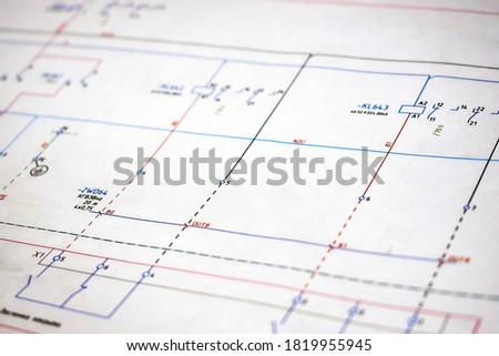 Printed electrical diagram. Design concept, electronics and engineering. Wiring diagram, close-up. Royalty-Free Stock Photo #1819955945
