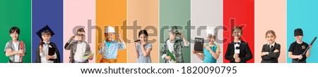 Collage with little children in uniforms of different professions on color background Royalty-Free Stock Photo #1820090795