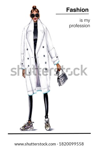 Fashionable woman in white fur coat.Trendy winter fashion illustration.The girl is dressed in  fur coat.Hand Drawn Fashion look.Stylish outfit.Podium style.