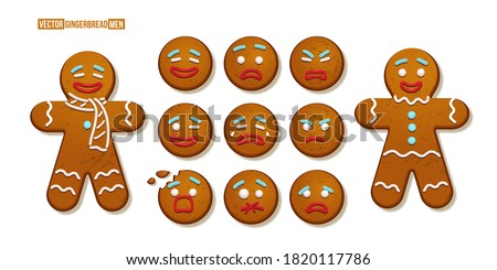 Gingerbread man cookies with different emotions set. Christmas holiday candy decoration vector illustration. Happy, cheerful, cute, sad, angry, funny faces. Traditional sweet xmas ginger biscuits. Royalty-Free Stock Photo #1820117786