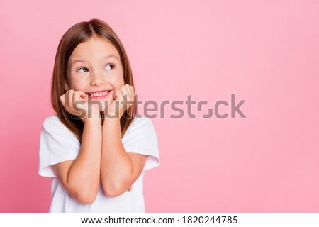 Close-up portrait of her she nice-looking attractive lovely sweet curious cheerful cheery smart clever girl creating new idea solution fantasize copy space isolated pink pastel color background