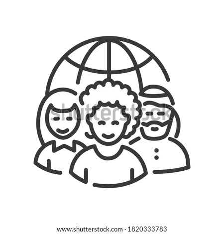 Nationality concept - vector line design single isolated icon. Social issues, equal rights idea. High quality black pictogram. International team and a globe. People of different ethnicity concept Royalty-Free Stock Photo #1820333783