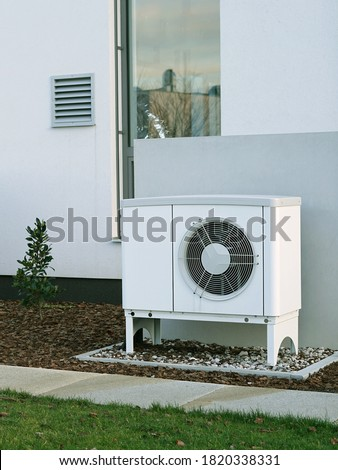 Modern house of future with efficient heat pump reduce living cost concept Royalty-Free Stock Photo #1820338331