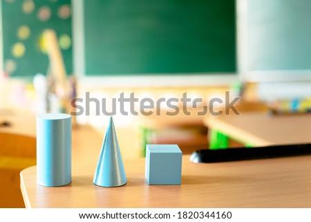 Geometry. Geometry lesson at school. Geometric figures.