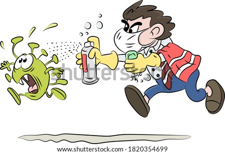 Cartoon man running after corona virus with soap and disinfectant in his hands vector illustration