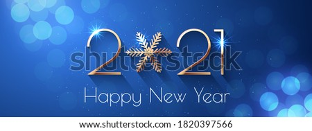 Happy New Year 2021 text design. Vector greeting illustration with golden numbers and snowflake #1820397566