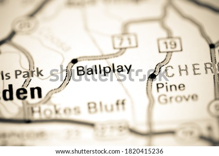 Ballplay. Alabama. USA on a map Royalty-Free Stock Photo #1820415236