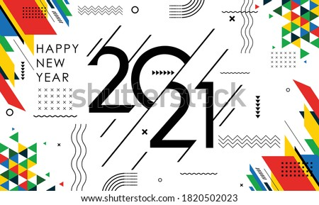 happy new year 2021 banner with modern geometric abstract white background in retro style. happy new year greeting card design for year 2021 calligraphy includes colorful shapes. Vector illustration #1820502023