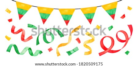 Water color illustration set of bright striped flag bunting and many flying confetti and party streamers. Handdrawn watercolour graphic paint on white, cutout cllipart elements for design decoration.