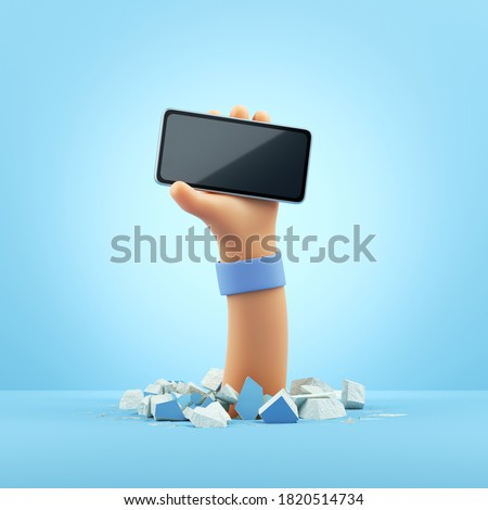 3d render, cartoon character hand holds black glossy smart phone mockup with blank screen. Clip art isolated on light blue background