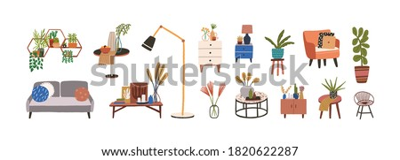 Set of furniture and decor elements vector flat illustration. Collection of home decorations for cosiness interior isolated. Stylish chest of drawers, couch, houseplant, armchair, lamp and table Royalty-Free Stock Photo #1820622287