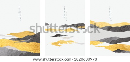Abstract landscape with Japanese wave pattern vector. Nature art background with Mountain forest template in oriental style. Royalty-Free Stock Photo #1820630978