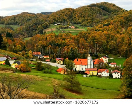 Beautiful idyllic rural landscape, Slovenia. Picturesque idyllic village of Olimje. Scenic slovenian countryside. Green hills. Autumn forest. Stunning nature. Wonderful peaceful land. Natural beauty. Royalty-Free Stock Photo #1820677172