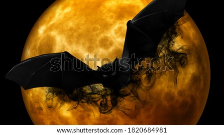 Halloween Scary Vampire And Orange fire Moon Background
