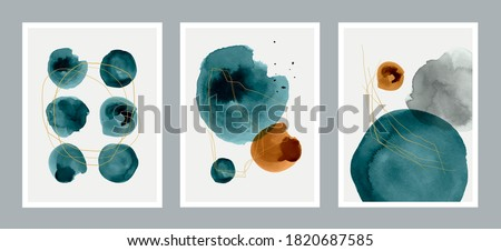 Set of 3 creative minimalist hand painted illustrations for wall decoration, postcard or brochure design. Vector EPS10. #1820687585