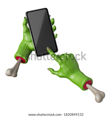 3d render, green zombie hands hold smart phone mobile device, blank screen mockup. Halloween clip art isolated on white background