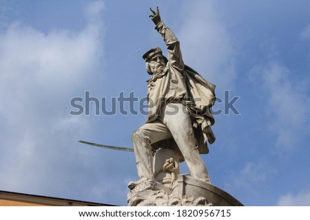 White marble monument of the Italian general Giuseppe Garibaldi in the city of Carrara, Tuscany. Royalty-Free Stock Photo #1820956715