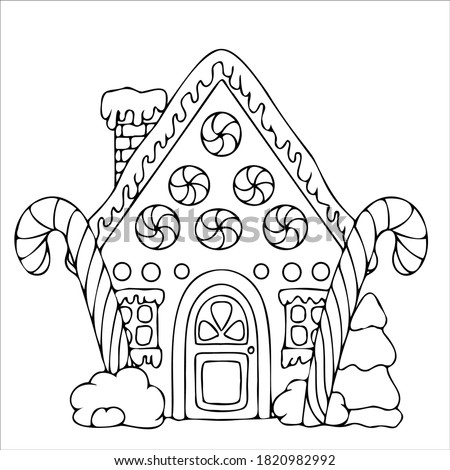 line drawn gingerbread houses, cookies, Christmas sweets and treats, gingerbread house shaped gingerbread cookies with decorations, fairy tale houses coloring book. Vector illustration #1820982992