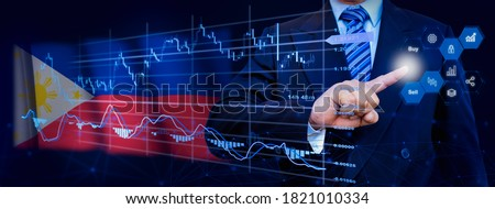 Businessman touching data analytics process system with KPI financial charts, dashboard of stock and marketing on virtual interface. With Philippines flag in background.