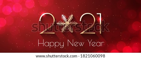 Happy New Year 2021 text design. Vector greeting illustration with golden numbers and snowflake #1821060098